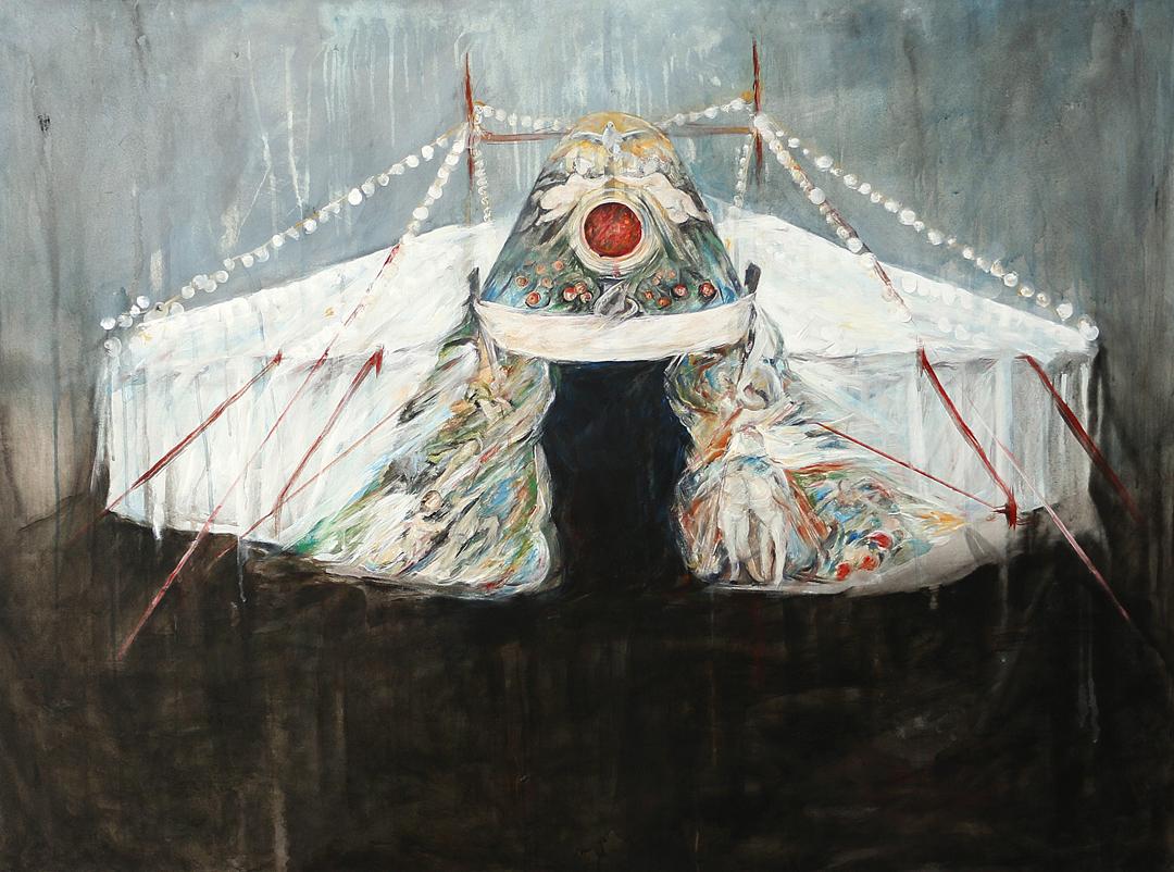 CHAPITEAU / REFUGE, 2017, acrylique sur toile, 97 × 130 cm