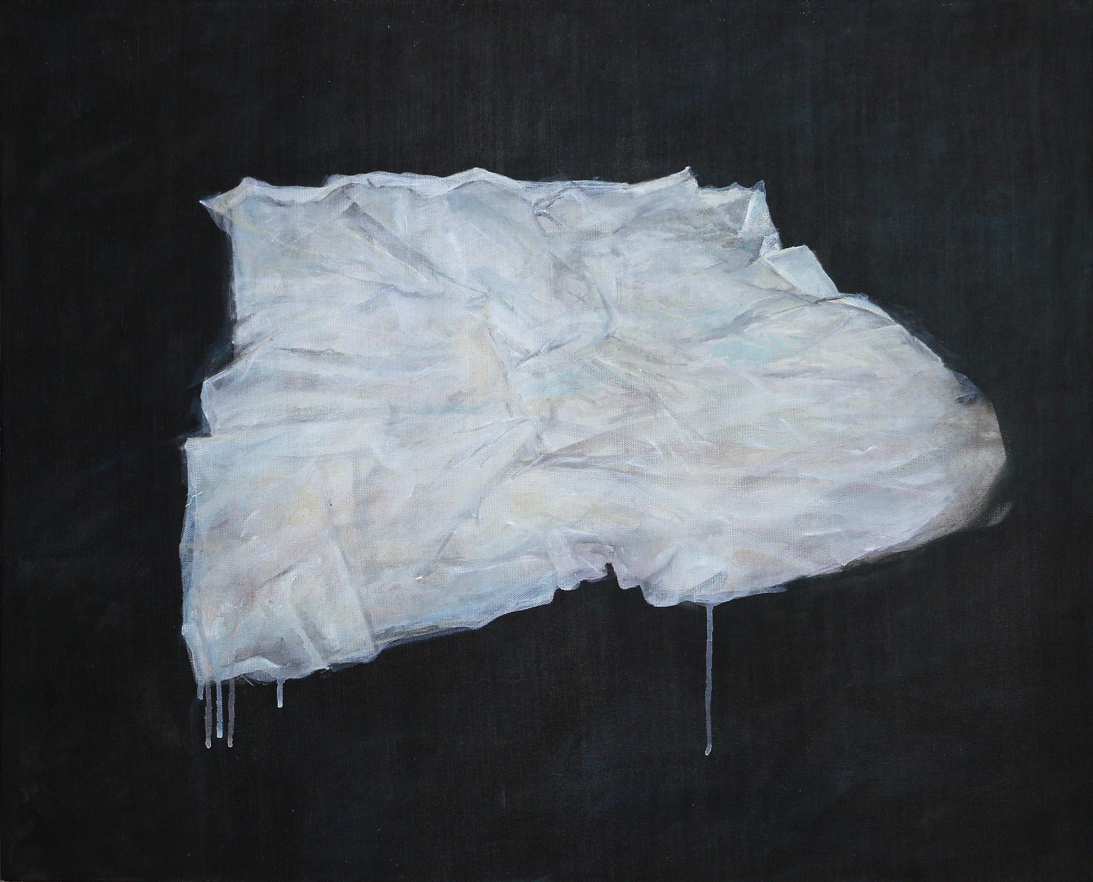LINGE BLANC, 2018, acrylique sur toile, 65 x 81 cm