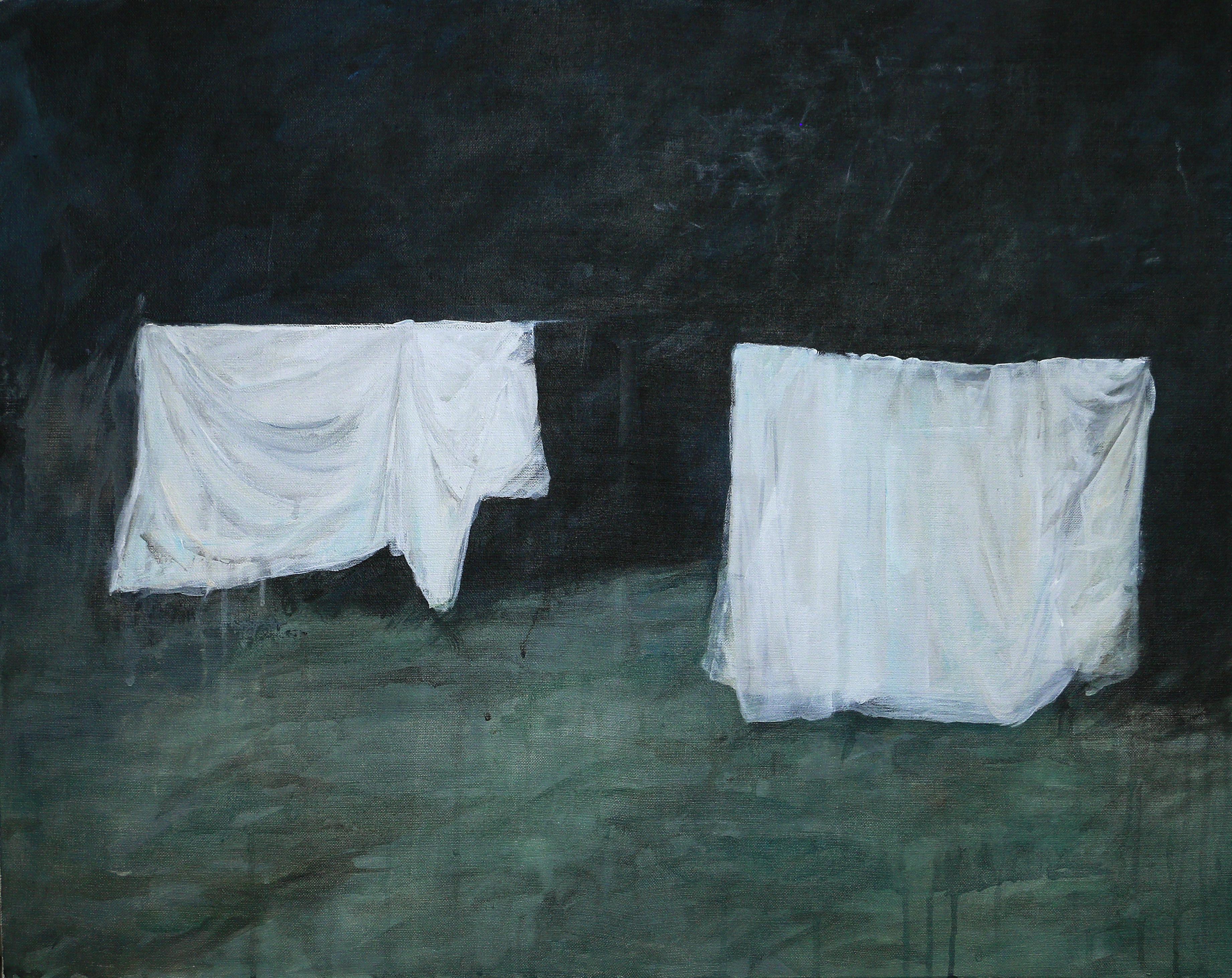 LINGES BLANCS, 2018, acrylique sur toile, 65 x 81 cm
