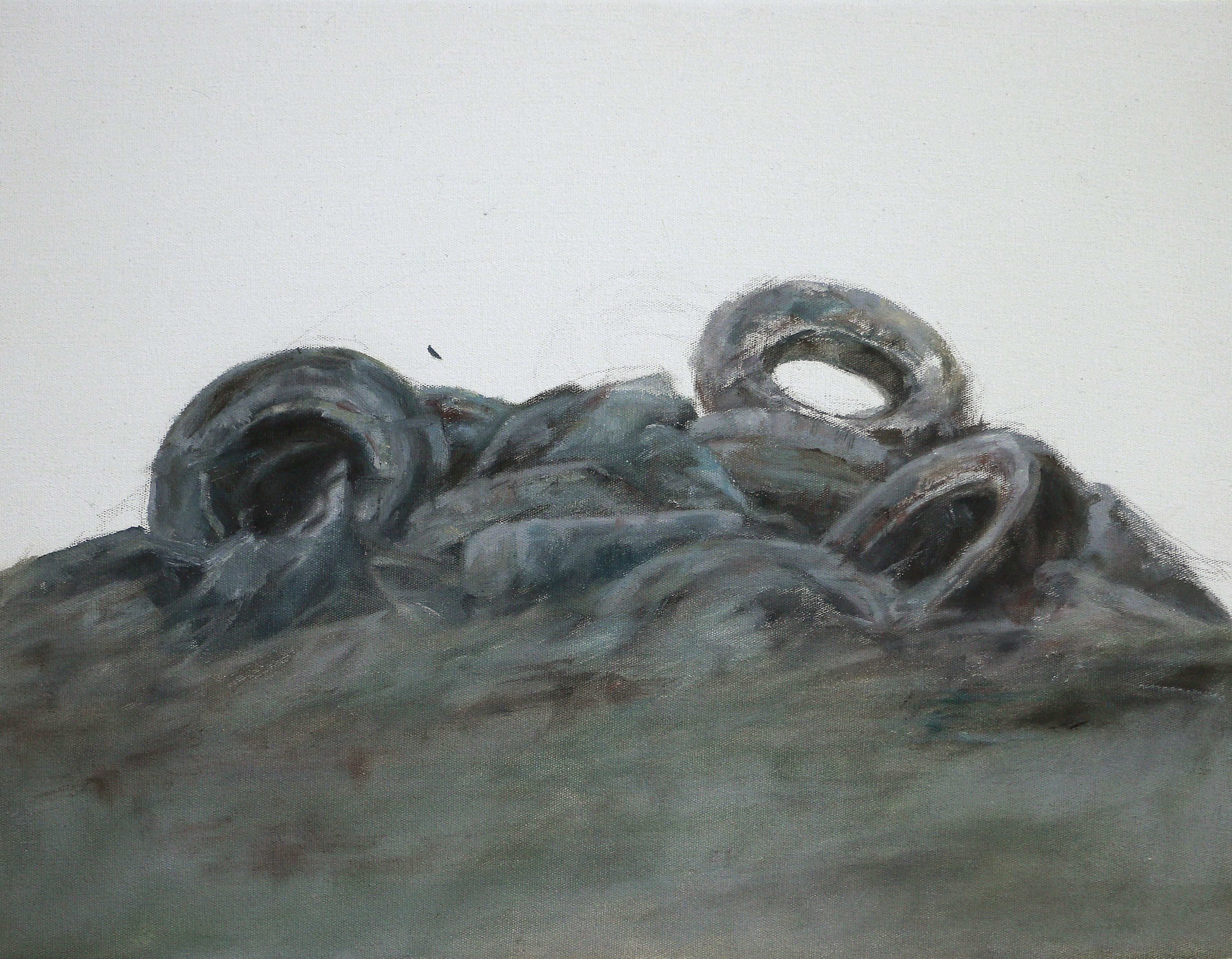 PNEUS#2, 2018, huile sur toile, 16 x 22 cm