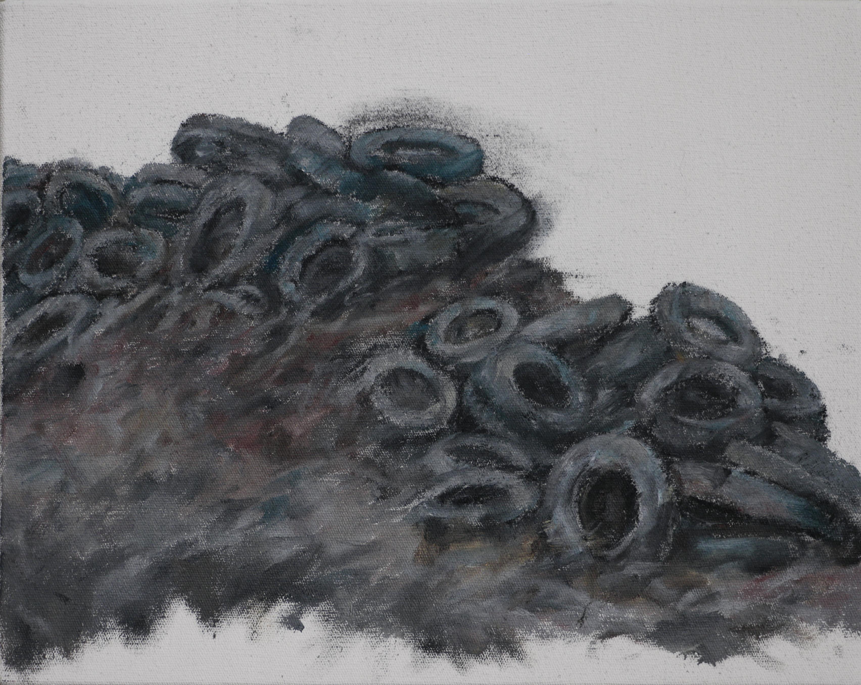 PNEUS, 2018, huile sur toile, 19 x 24 cm
