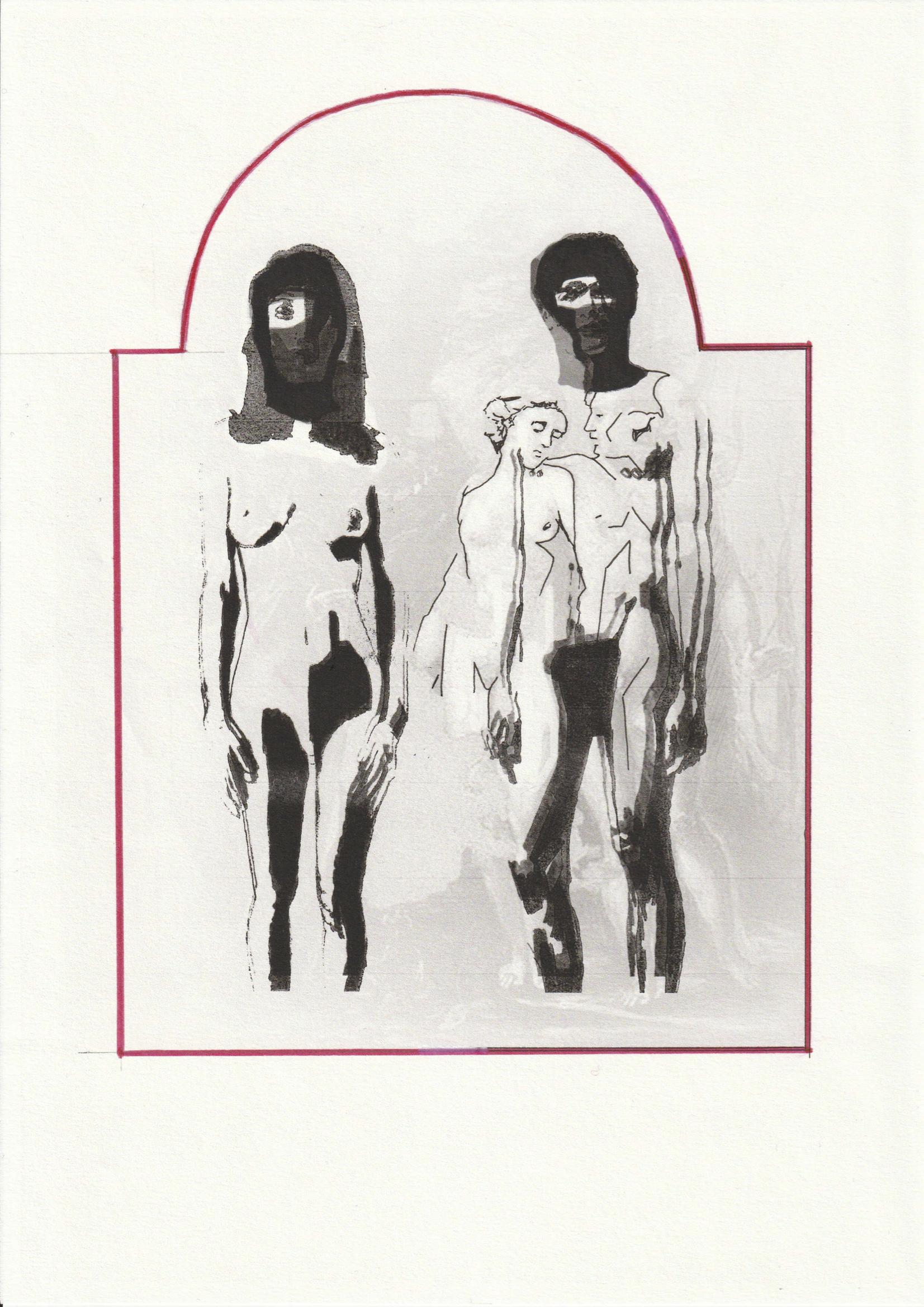 ADAM&EVE, 2019, technique mixte sur papier, 29,7 x 21 cm